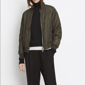 Vince Quilted Bomber Jacket in Olive Green